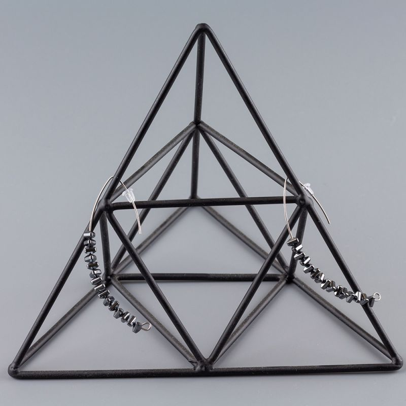 Висящи обеци полукръг с Хематит цвят никел