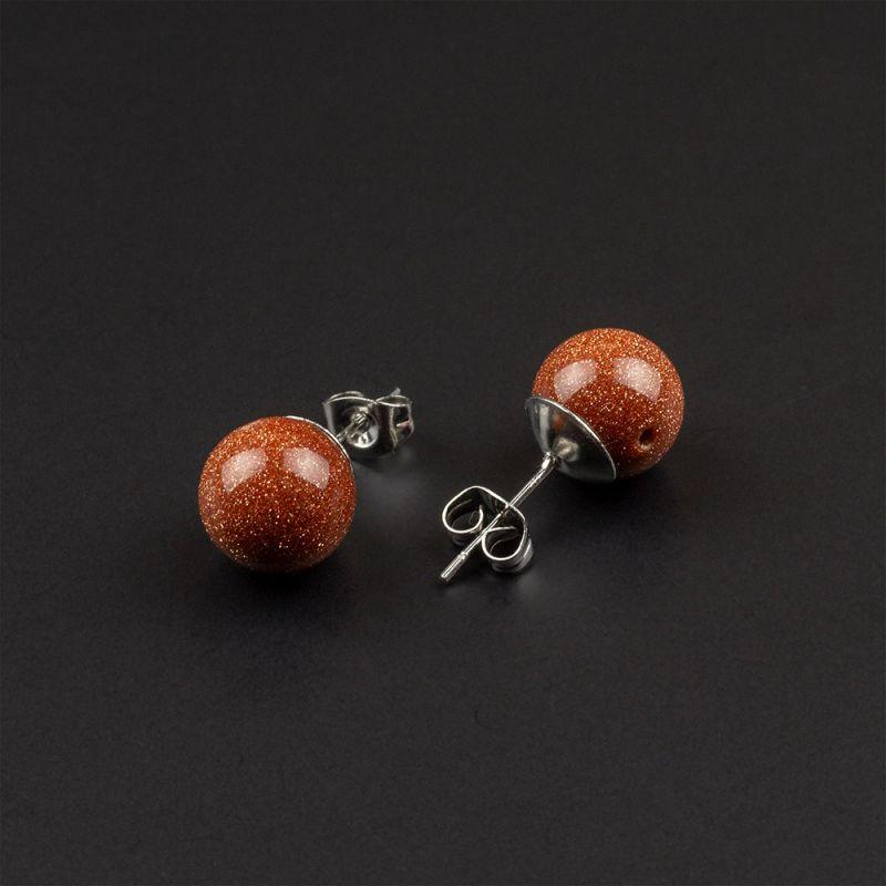 Красиви малки обеци с камък Кафяв Авантюрин 10 мм.