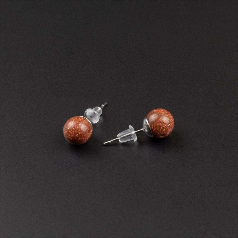 Малки обеци на винт с камък Кафяв Авантюрин 8 мм.