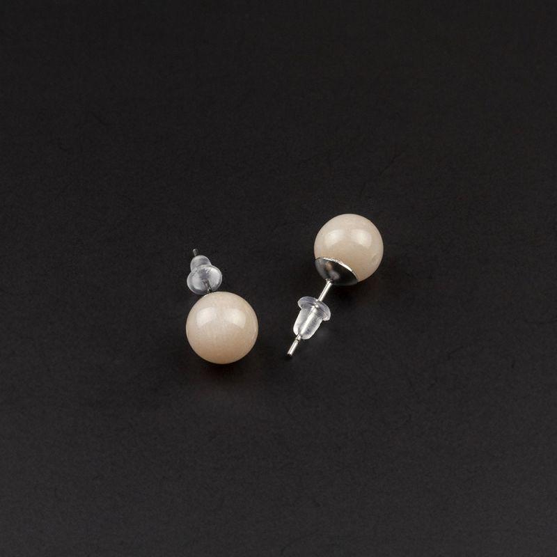 Малки обеци на винт с Лунен камък