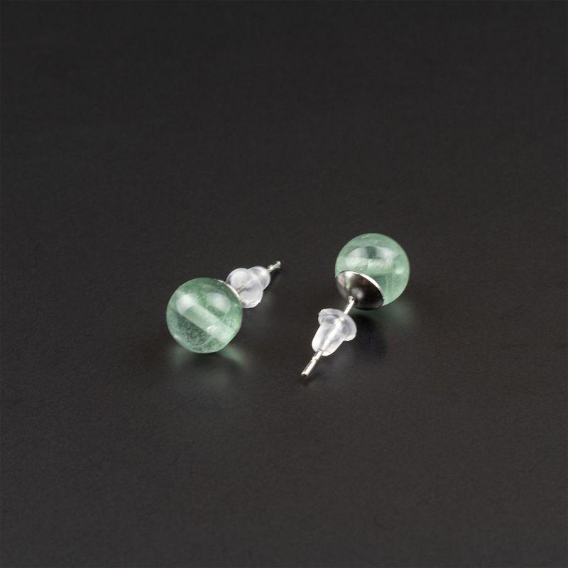 Малки обеци на винт с камък Флуорит