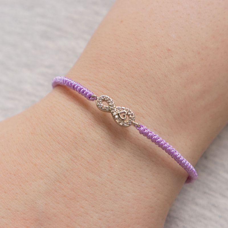 Виолетова плетена гривна с елемент безкрайност