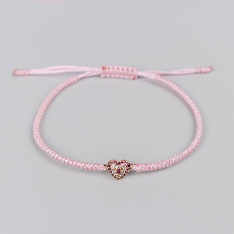 Розова плетена гривна с елемент сърце