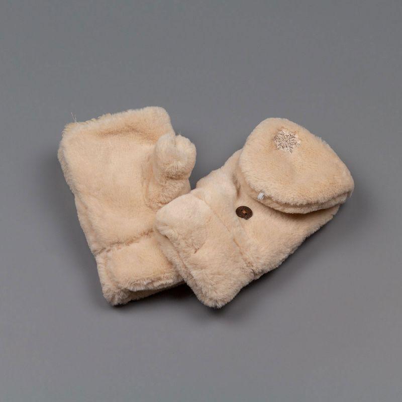 Топли дамски ръкавици без пръсти в бежов цвят