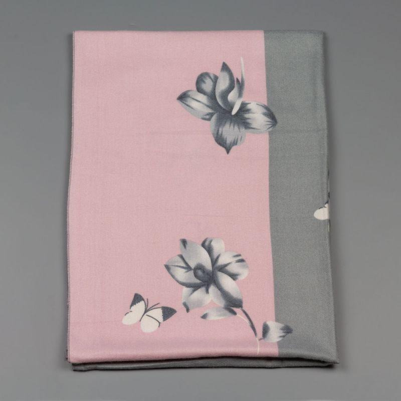 Дамски шал с цветя в сиво и розово