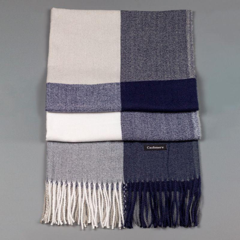 Зимен дамски шал в тъмно син и сив цвят