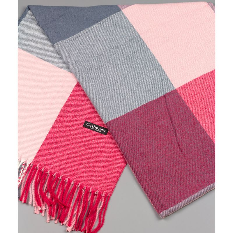 Зимен дамски шал в цвят бордо, сиво и розово
