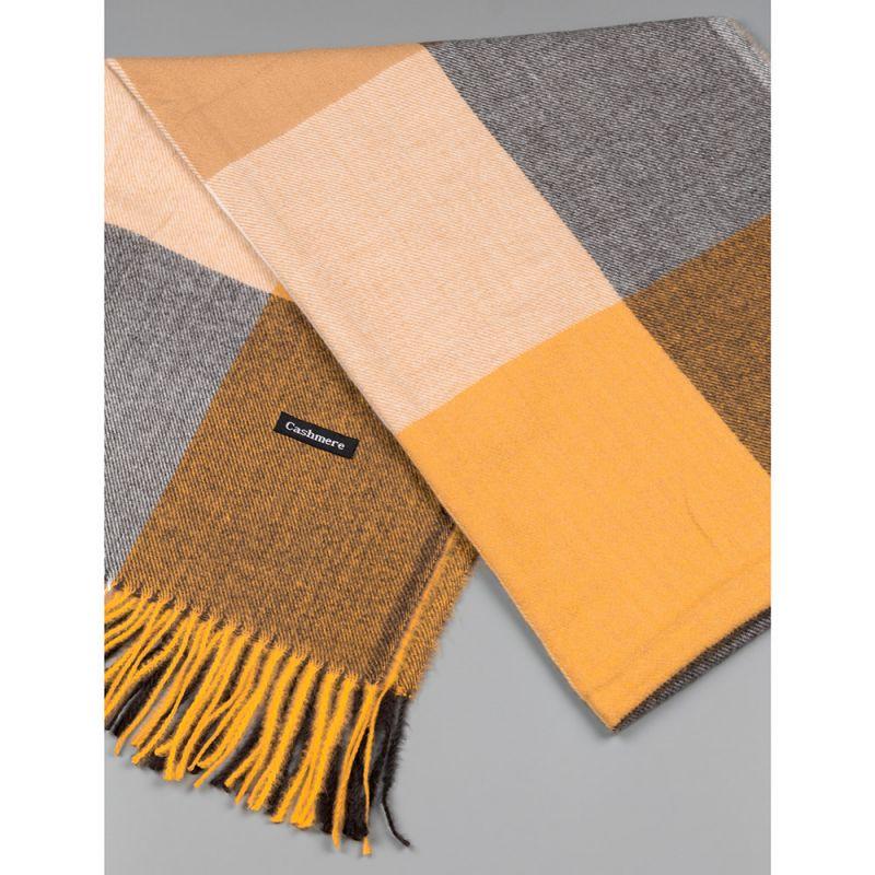 Зимен дамски шал в цвят горчица и кафяво